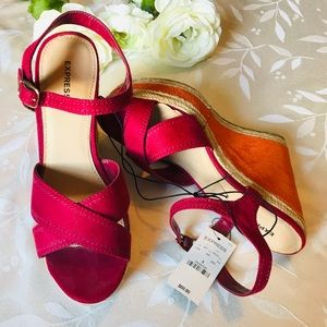 NWT Express Pink and Orange Wedges